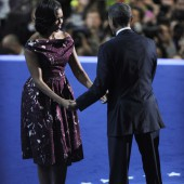 Michelle Obama et Barack Obama lors de la Convention nationale du Parti démocrate à Charlotte, aux Etas-Unis le 6 septembre 2012.